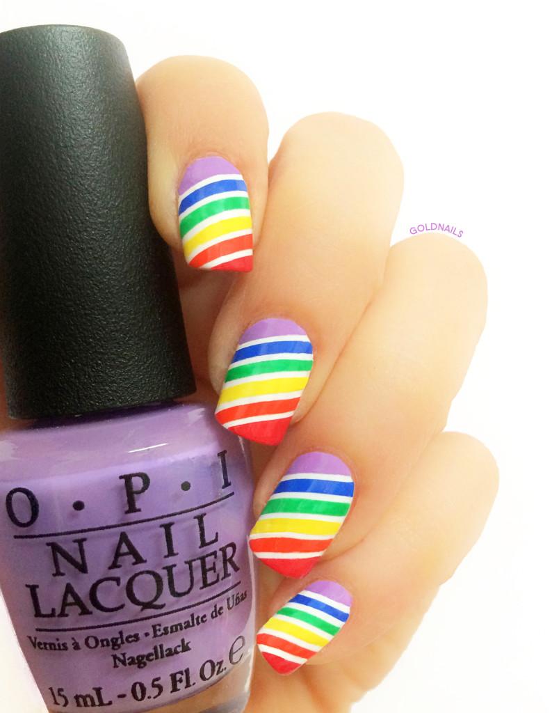 ציפורניים בצבעי הקשת לכבוד מצעד הגאווה 2015 עם לק סגול של OPI
