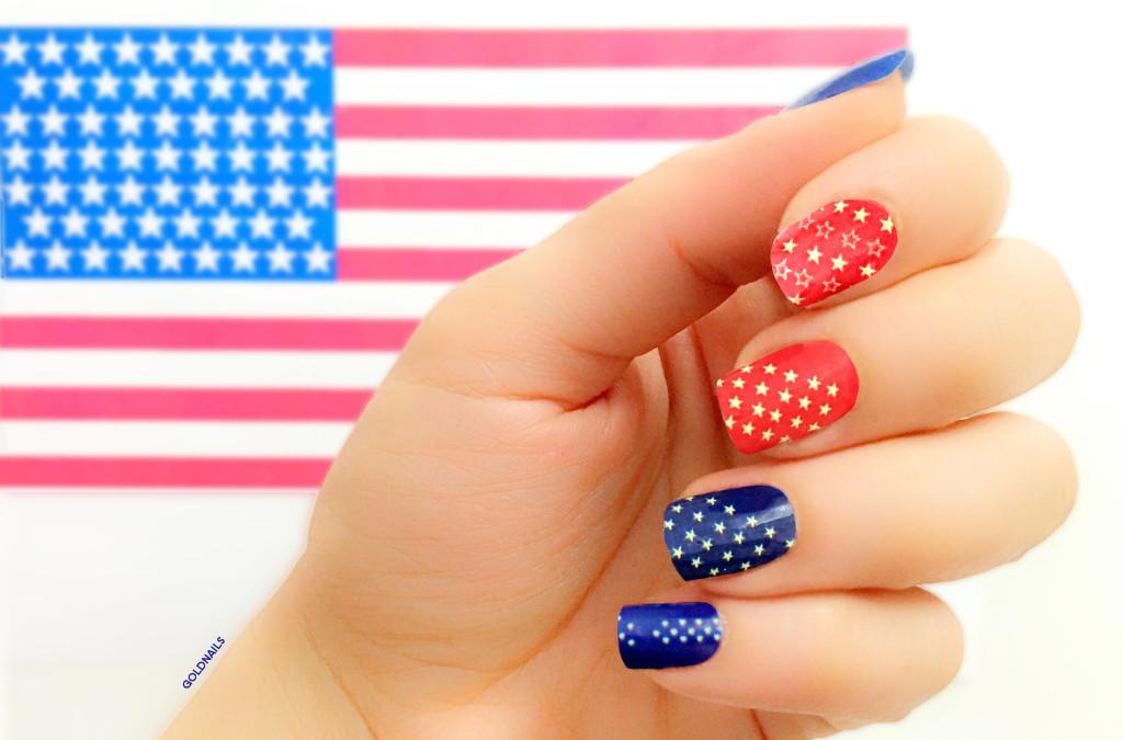 """ציפורני דגל ארה""""ב עם מדבקות הציפורניים של פאניילז ודגל ארה""""ב"""