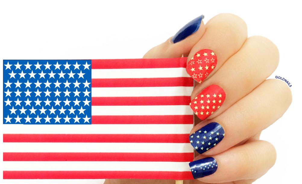 """תמונה של ציפורני דגל ארה""""ב עם מדבקות הציפורניים של FUNAILZ!"""