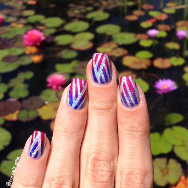 גרדיאנט צבעוני על רקע הווגרפי עם עיצוב צמה קלועה של Galia's Fun Nails