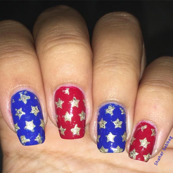 """ציפורני כוכבים עם שבלונות גולדניילס ליום העצמאות של ארה""""ב. קרדיט: שחר סבג"""