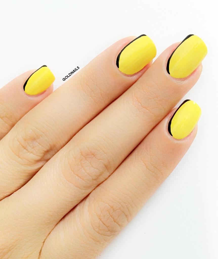 ציפורניים עם פרנץ' צדדי צהוב ושחור