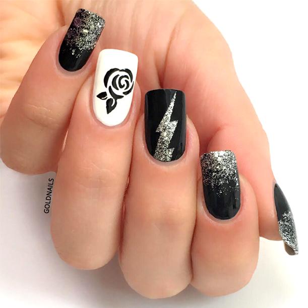 ציפורני הארד רוק: ורד שחור על רקע לבן, ברק ופתיתים כסופים על ציפורניים שחורות