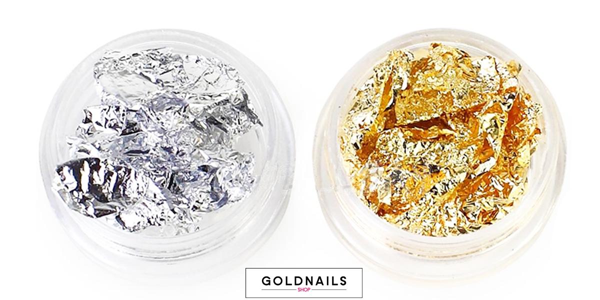 עלי זהב וכסף לקישוט הציפורניים - גולדניילס שופ