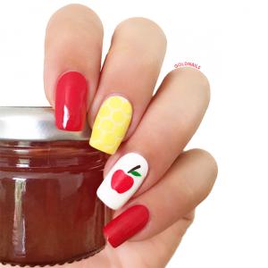 ציפורני תפוח בדבש לראש השנה: ציפורניים עם עיצוב תפוח וכוורת דבש לראש השנה