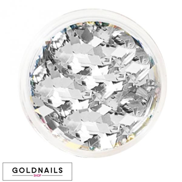 קישוטי יהלומים כסופים לציפורניים של גולדניילס