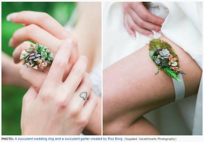 בתמונה: בירית וטבעת נישואין עשוית פרחי סוקולנטים של האמנית האוסטסרלית רוז בורג