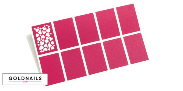 10 מדבקות שבלונה לציפורניים בהדפס לבבות באוויר