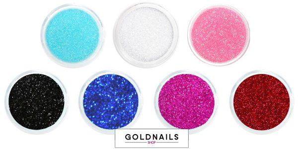 אבקת נצנצים לציפורניים של גולדניילס ב-7 גוונים