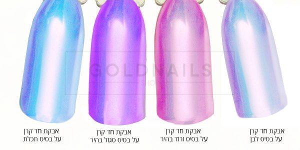 אבקת חד קרן לציפורניים של גולדניילס על צבעי ג'ל שונים