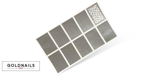 10 שבלונות לציפורניים בהדפס גיאומטרי של בלוקים