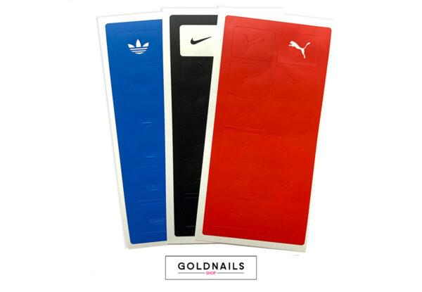 מארז שבלונות לציפורניים בעיצובי לוגו של מותגי ספורט